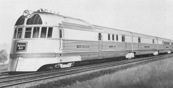 Builder's drawing of the CB&Q Mark Twain Zephyr